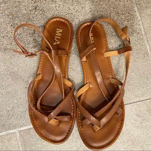 Tan Faux Leather Sandals